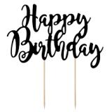 Topper para tartas Happy Birthday  negro